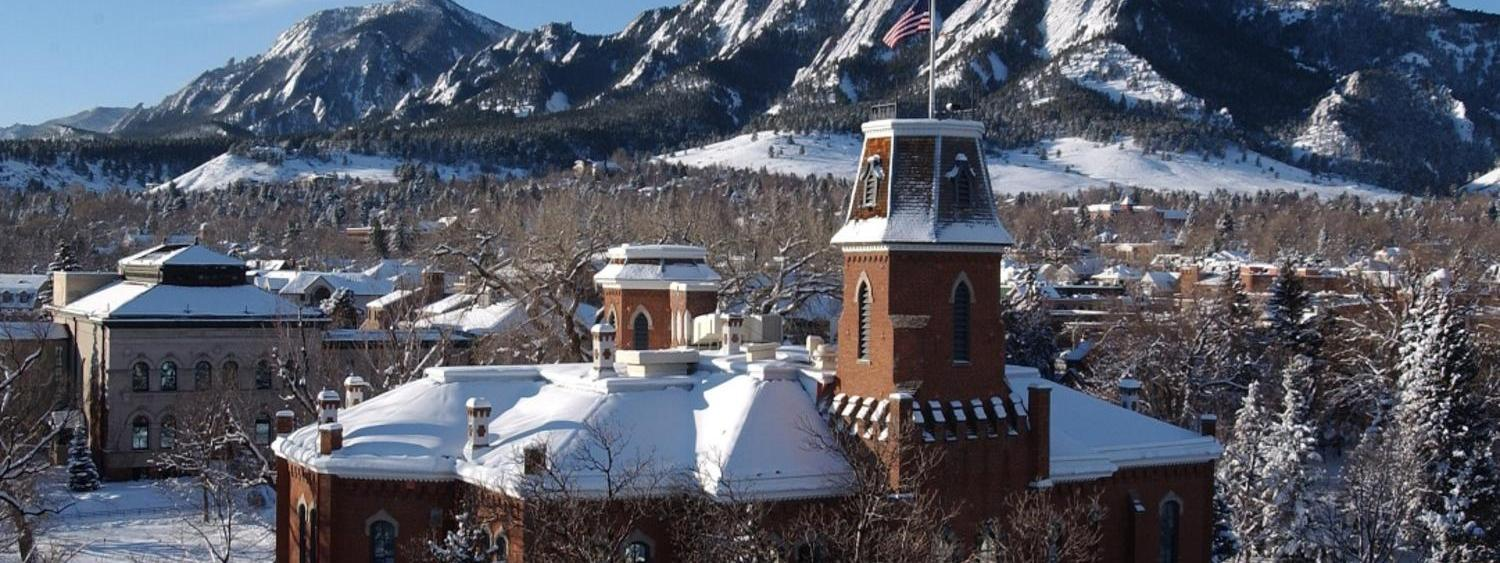 CU Boulder campus in winter