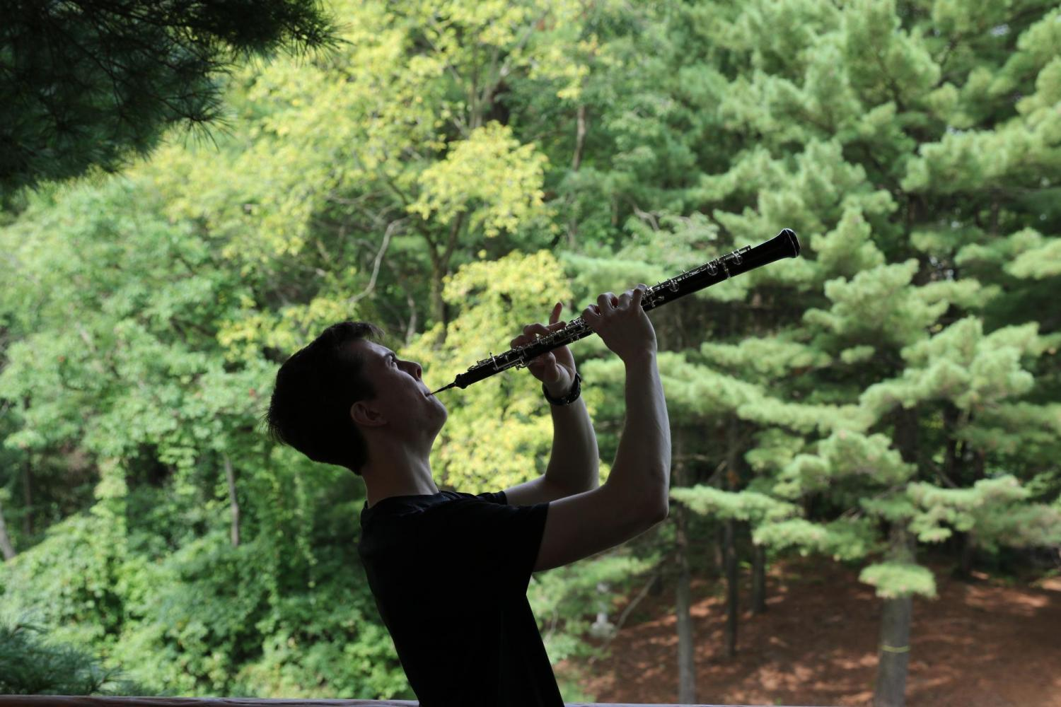 Curtis playing oboe