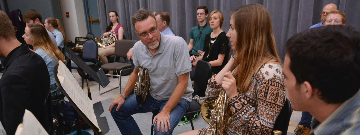 horn students with cleveland orchestra member