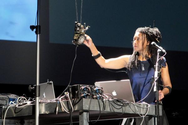 Pamela Z performing
