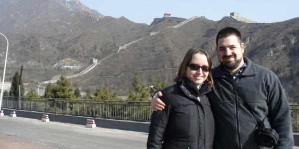 adam and sasha at the great wall of china