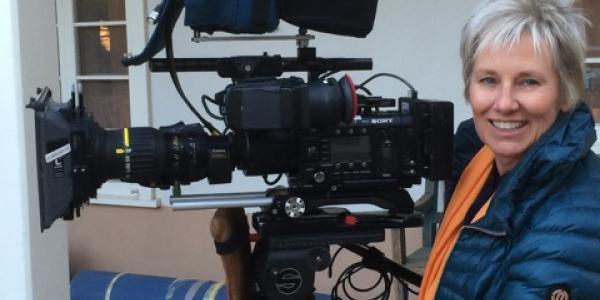 alumna barbara bentree with video camera