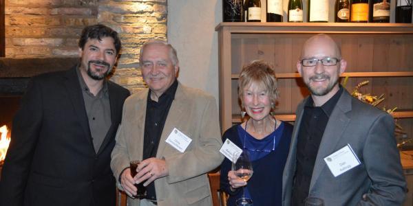 Carter Pann, Chris Christoffersen, Barbara Christoffersen and Daniel Kellogg at a dinner celebrating the Christoffersens' latest gift to the College of Music.