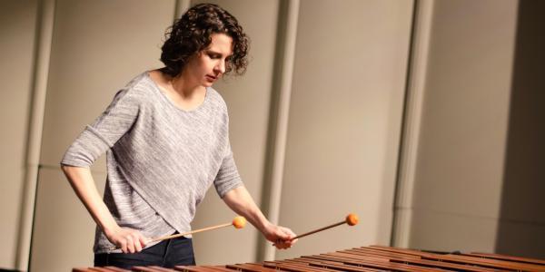 Jennie Dorris playing marimba