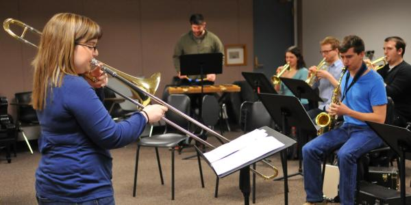 students conducting in class