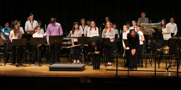 students at middle school ensemble