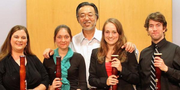 bassoon students posing