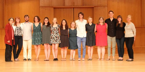 viola students posing on stage