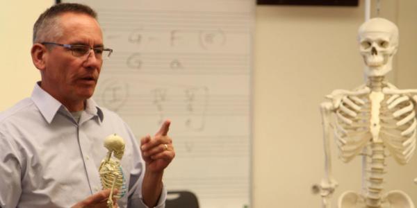 teacher with skeleton