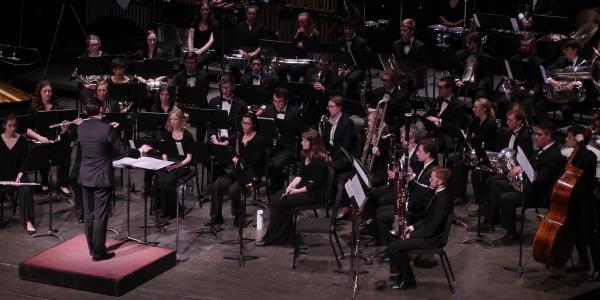 wind ensemble on stage