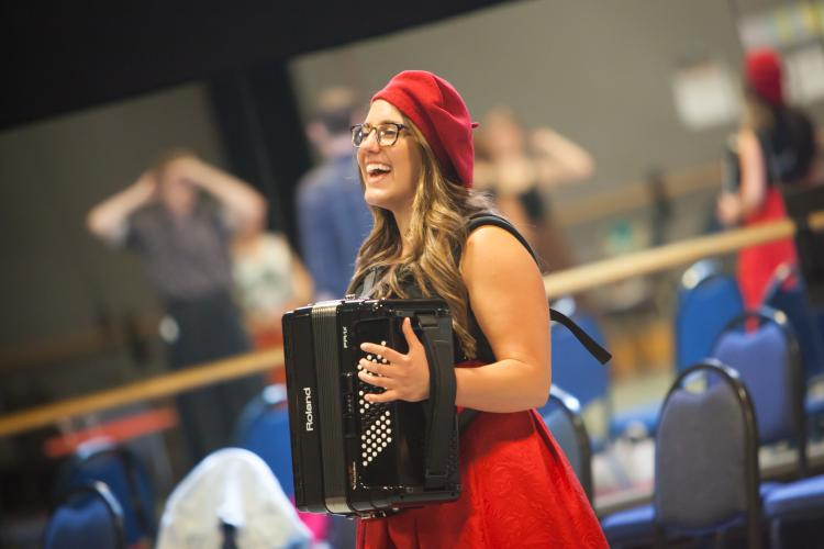 alicia baker with her accordion