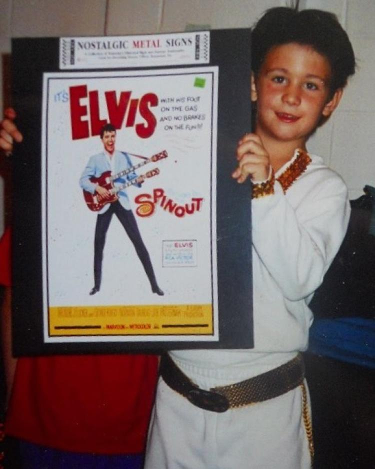 Andrew Crust with his Elvis lookalike contest award