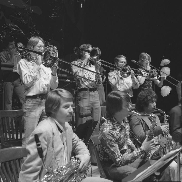 jazz band on stage in the 1970s