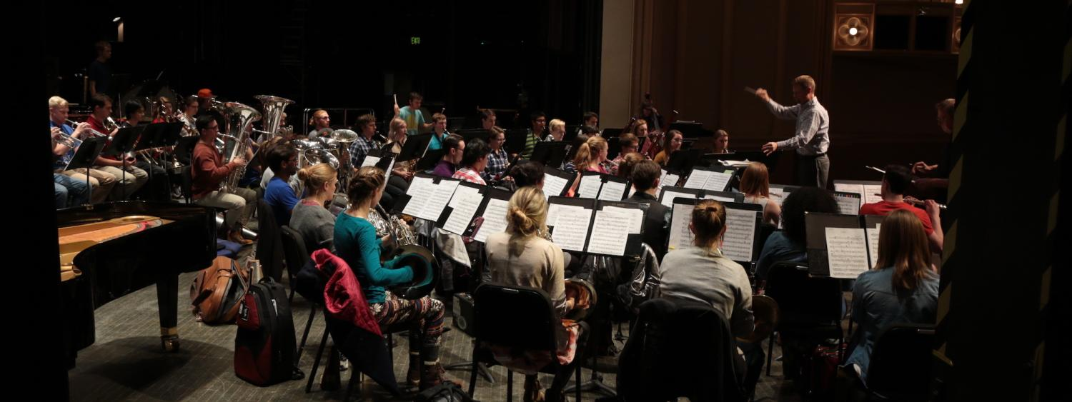 conducting in front of students