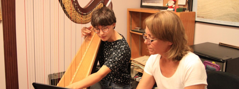 harp student and teacher