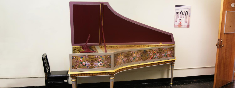 Harpsichord in a studio