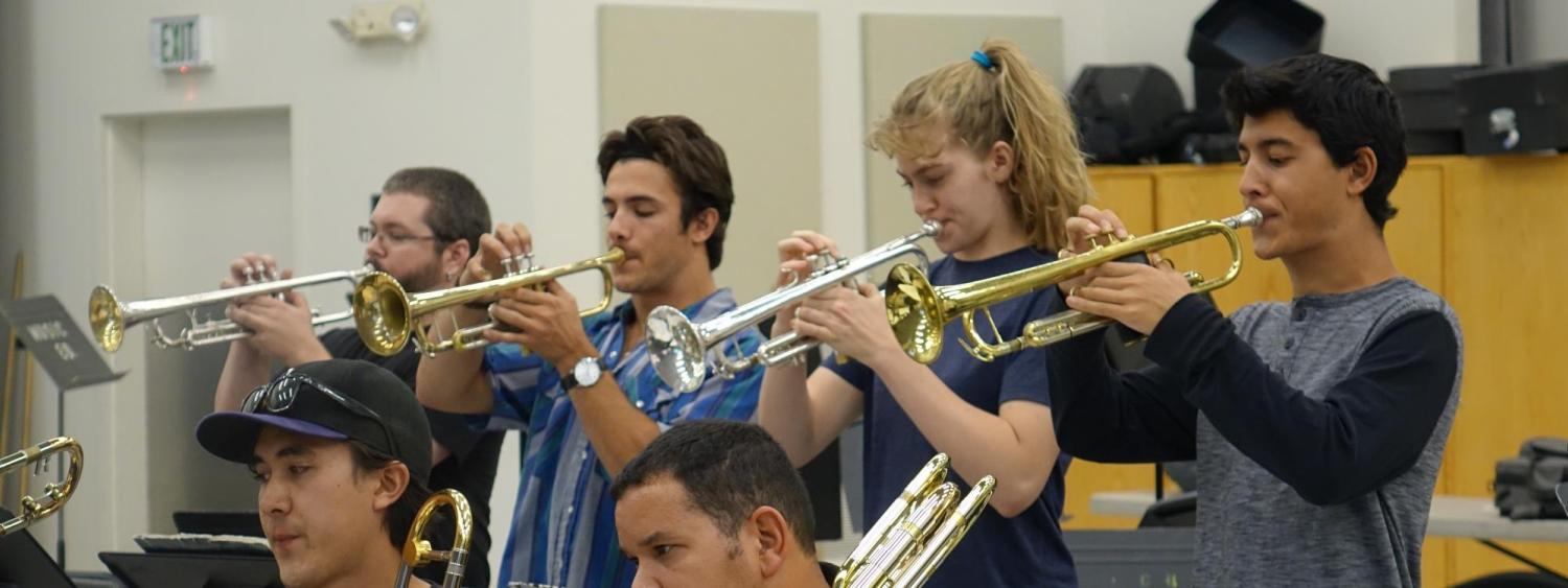 jazz trumpet players in rehearsal