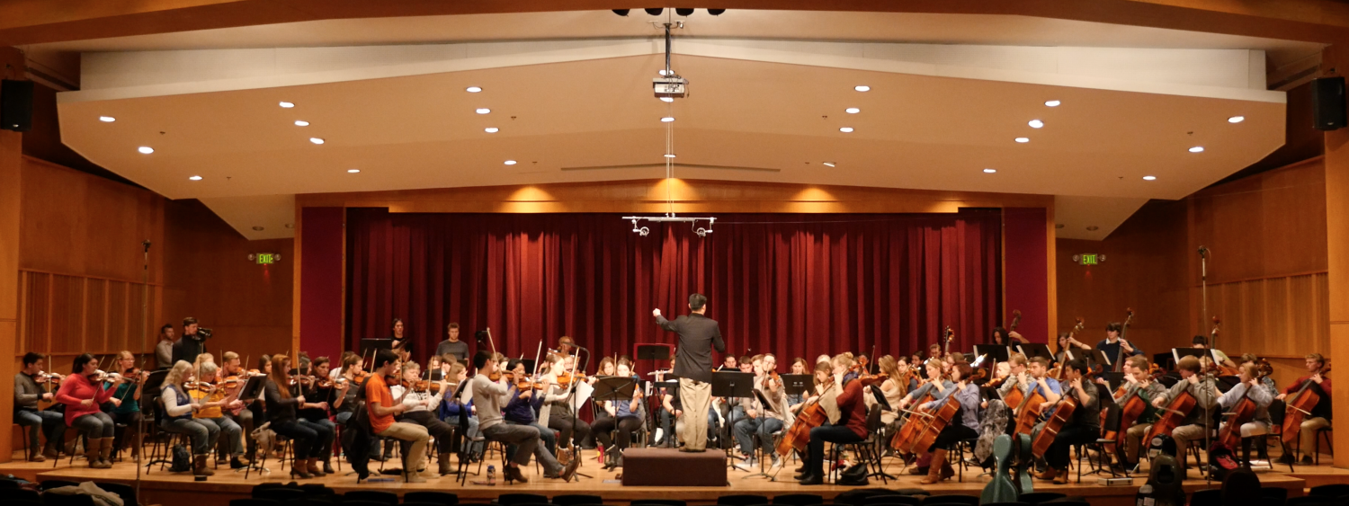 campus orchestra on stage