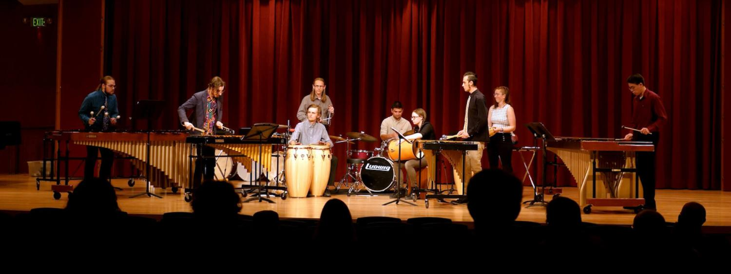 percussion students on stage