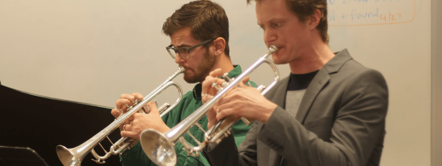 students playing trumpet