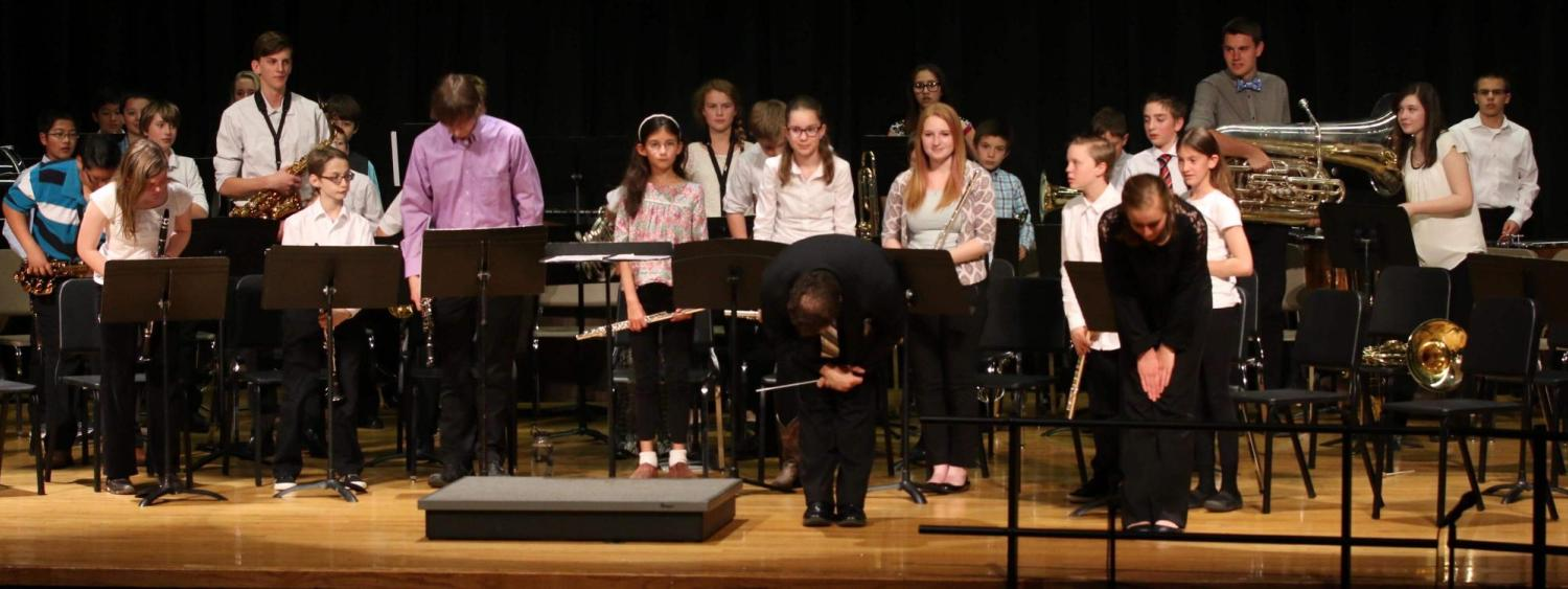 middle school ensemble on stage