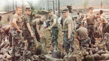 Army days, Dean Davis in middle