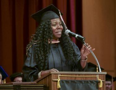 tia fuller speaking at commencement