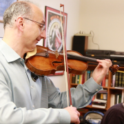 Edward Dusinberre and David Korevaar rehearsing