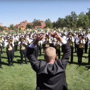 dr. roeder conducting marching band