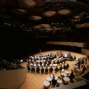An overhead view of the Boettcher Concert Hall