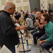 cleveland orchestra member working with students