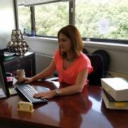 edain at her desk