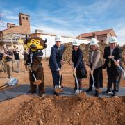Groundbreaking group with shovels