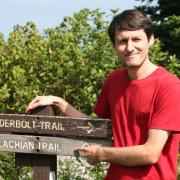 student on appalachian trail