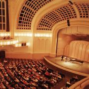 macky auditorium aerial shot