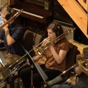 Concert Jazz Ensemble playing in studio