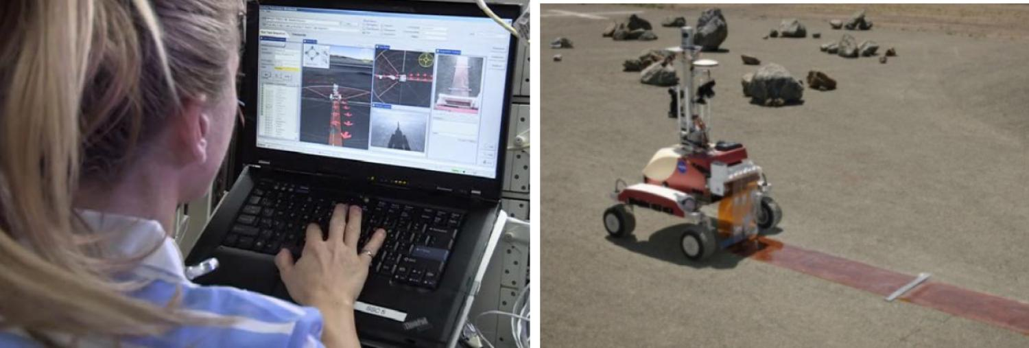Telerobotics is a key technology for operating rovers on planetary surfaces with minimal latency. Here, astronaut Karen Nyberg, orbiting Earth on the ISS, teleoperates the K10 rover at NASA Ames and deploys a simulated lunar radio telescope array.