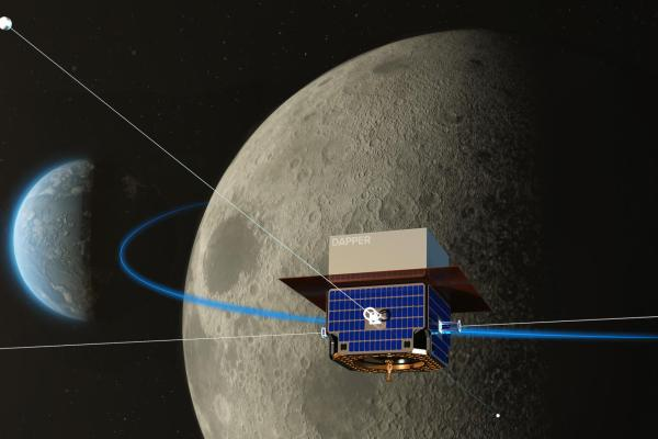 Artist illustration of the Dark Ages Polarimetry Pathfinder (DAPPER), which will look for faint radio signals from the early universe while operating in a low lunar orbit. Its specialized radio receiver and high-frequency antenna are currently being developed by NRAO. Credit: NRAO/AUI/NSF, Sophia Dagnello