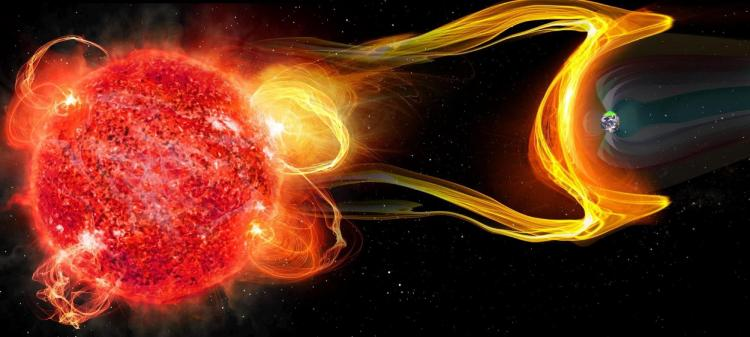 Artist's impression of a planet orbiting an M dwarf experiencing a CME due to a megaflare event