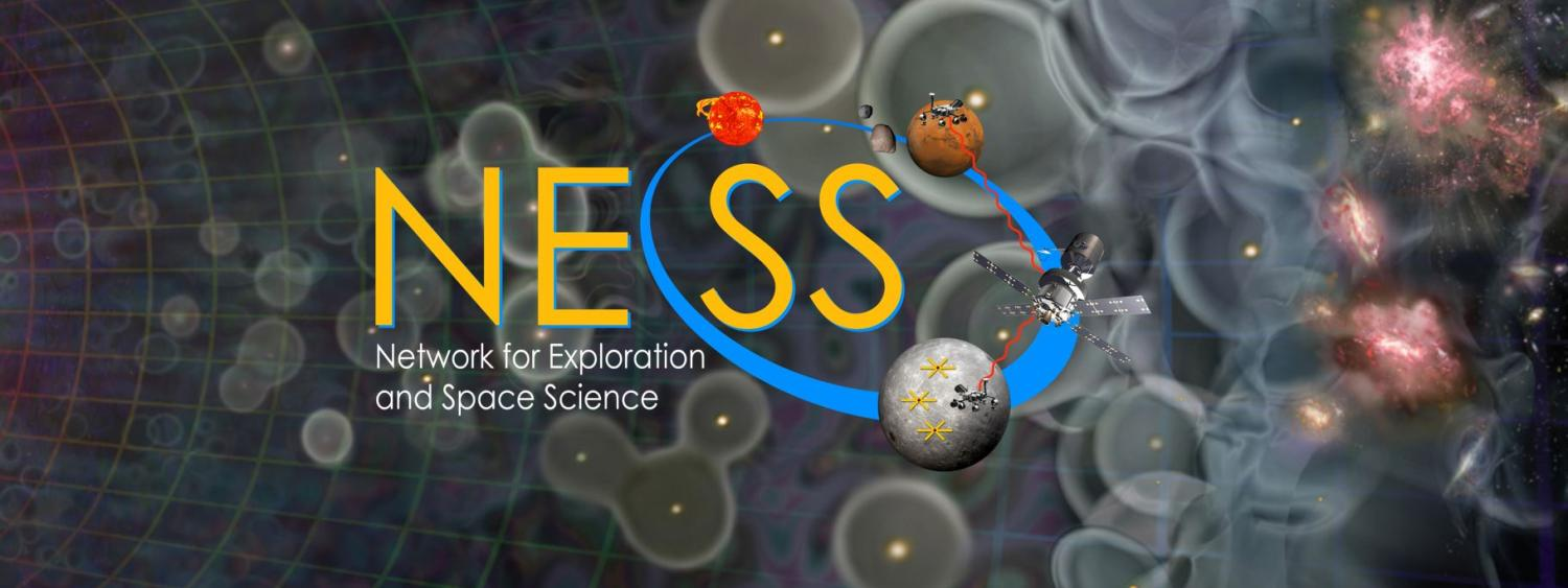 NESS Logo with Cosmic Dawn background