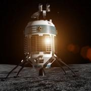 Concept image of a MX-1 lander on the lunar surface.
