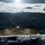 Illustration of radio telescope on the Moon. Credit NASA/JPL