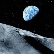 Illustration of the Moon with Earth in view
