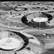 A decades-old idea from lunar scientist Richard Vondrak, who worked at the Apollo Science Operations Center during the Moon landing program, proposed using lunar craters to build radio telescopes like the Arecibo Observatory in Puerto Rico. Here, an artist's concept shows how three telescopes could be used separately or combined to create a giant instrument.