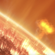 As depicted in this illustration, a giant surges of solar particles erupts off of the Sun.