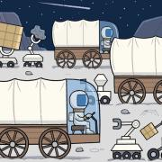 The Race to Develop the Moon drawing