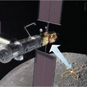 Artist illustration of FARSIDE using the Lunar Gateway, or similar Lunar asset, for communication with Earth.
