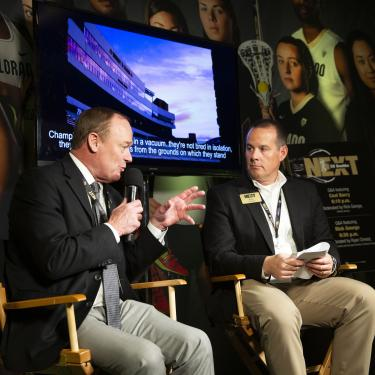 Rick George and Ryan Chreist during a Q&A session at CU Boulder Next New York