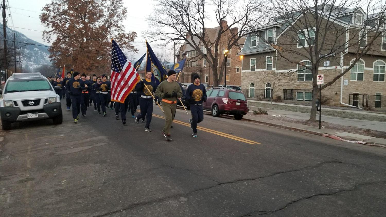 CU NROTC on the annual Veterans Day run