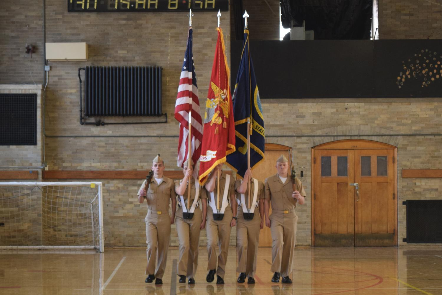 CU Color Guard team competing in the Colorado Meet